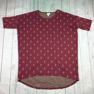 LuLaRoe Irma flamingo print hi low tunic shirt Y4